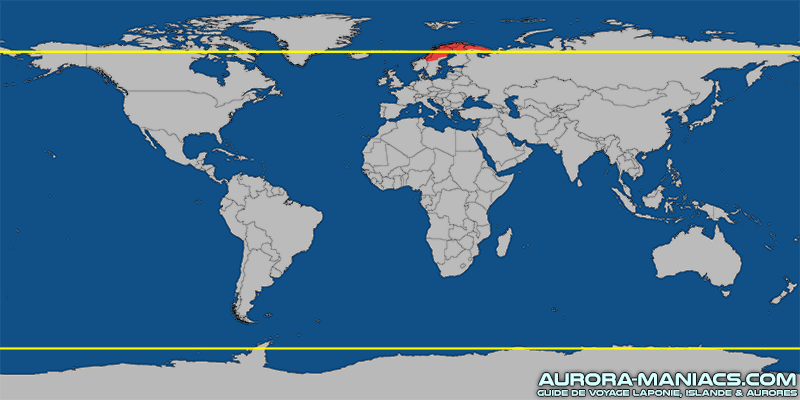 Carte du monde - Cercles polaires arctique et antarctique