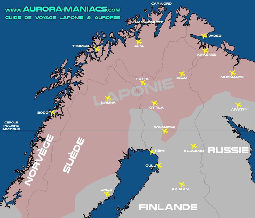 Voyager en Laponie en avion - carte des aéroports de Laponie (non-exhaustives)