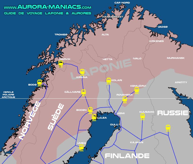 Laponie en train - carte chemins de fer