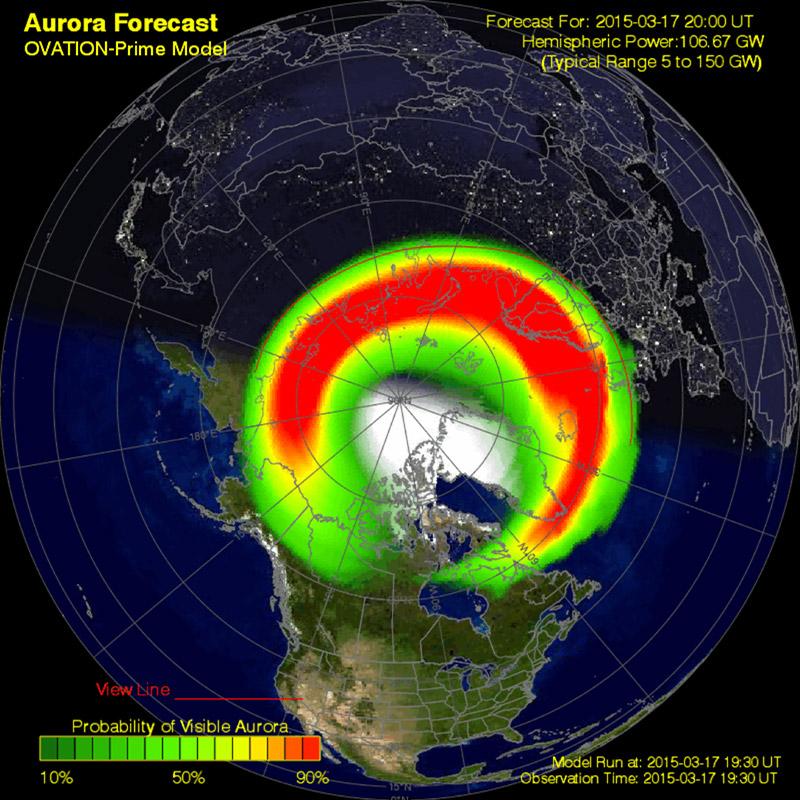Ovation nord, prévision à 30 minutes des probabilités d'observation d'aurores à 19h30