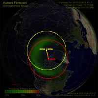 Dérive du pôle nord magnétique entre 1990 et 2016