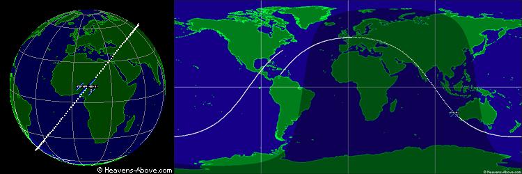 Orbite inclinée de l'ISS autour de la terre