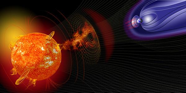 Ejection de matière en direction de la terre et son bouclier magnétique (pas à l'échelle) © NASA