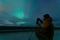 Après 4 jours de mauvais temps, notre première aurore boréale, un 31 décembre à 23h00. Le spectacle a commencé à 22h et a duré 6h !