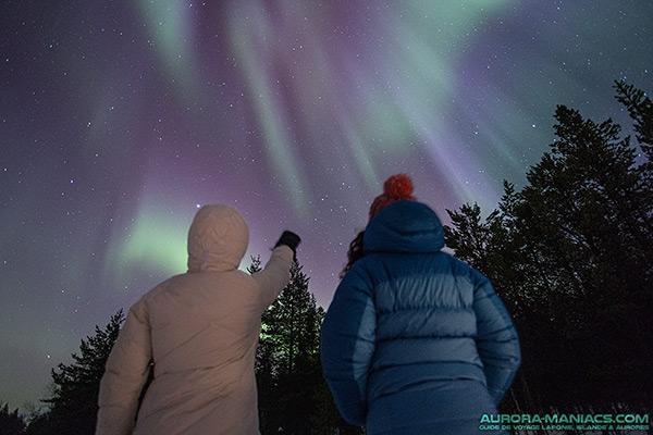 A l'est de Muonio (Laponie Finlandaise), aurore boréale dansante, d'intensité moyen