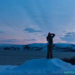 Cote de Norvege pendant la nuit polaire arctique à 13h00