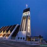 Eglise d'Hammerfest pendant la nuit polaire, 11h50