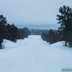 Laponie, routes finlandaises enneigées entre Nuorgam et Inari