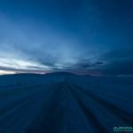 13h45, sur la route d'Alta à Hammerfest pendant la nuit polaire arctique