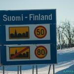 Panneau à la frontiere Finlande-Norvège